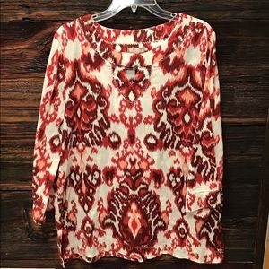 White Stag Tunic Red & White 3/4 Sleeve Top XL